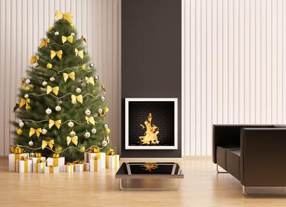 Décoration de Noël moderne dans les tons dorés