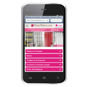 Page d'acceuil site mobile HomeMaison