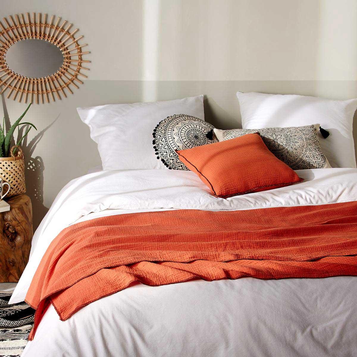 Jeté de lit avec surjet noir (Terracota)
