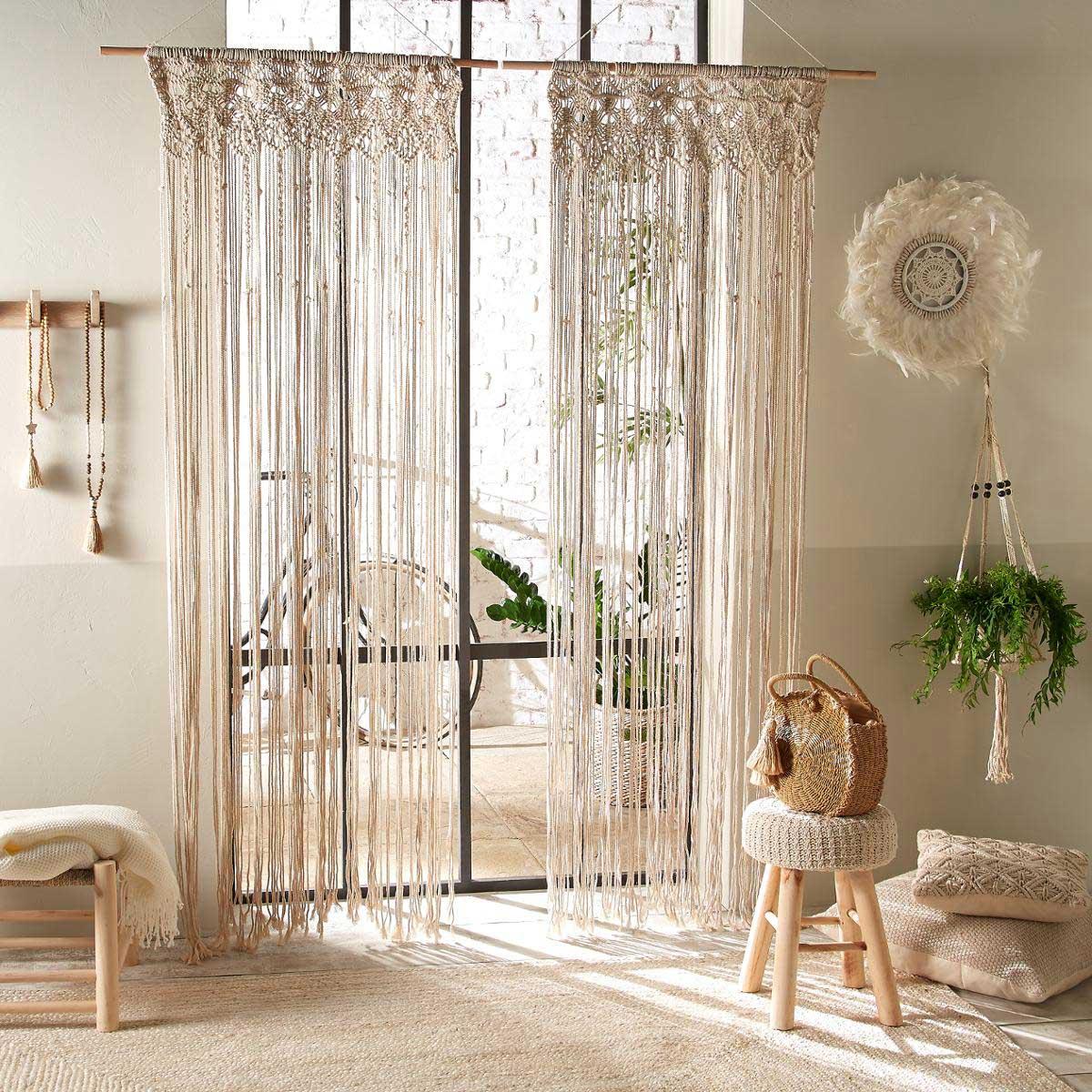 Idées cadeau : rideau macramé