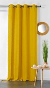 Rideau jaune en coton et chanvre