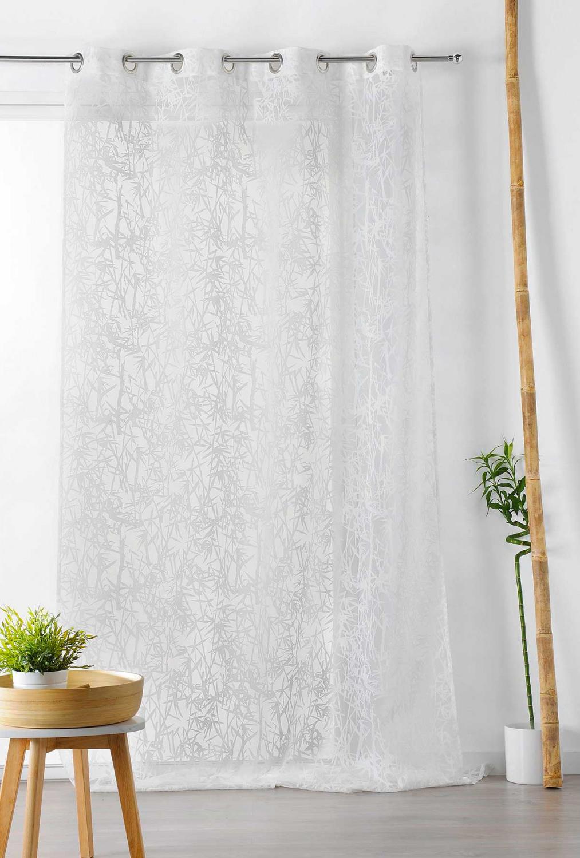 """Voilage à motifs exotiques frappés """"bambou"""""""