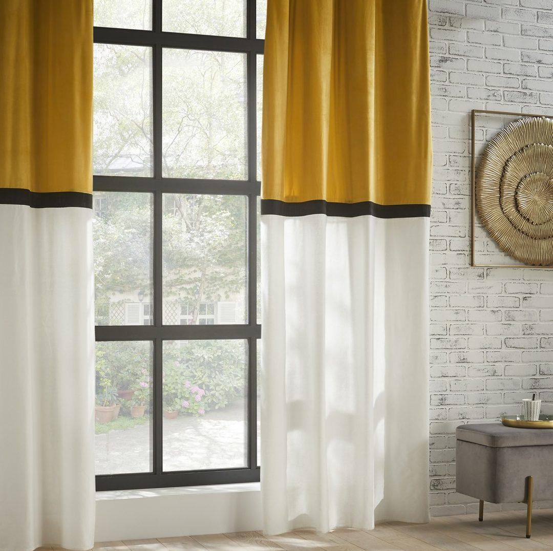 Rideau jaune bicolore style Hôtel
