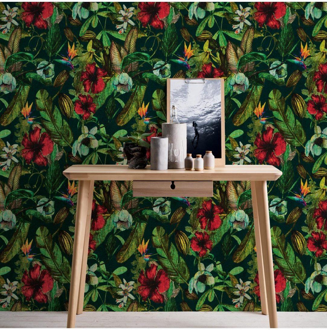 Papier peint imprimé tropicalis vintage