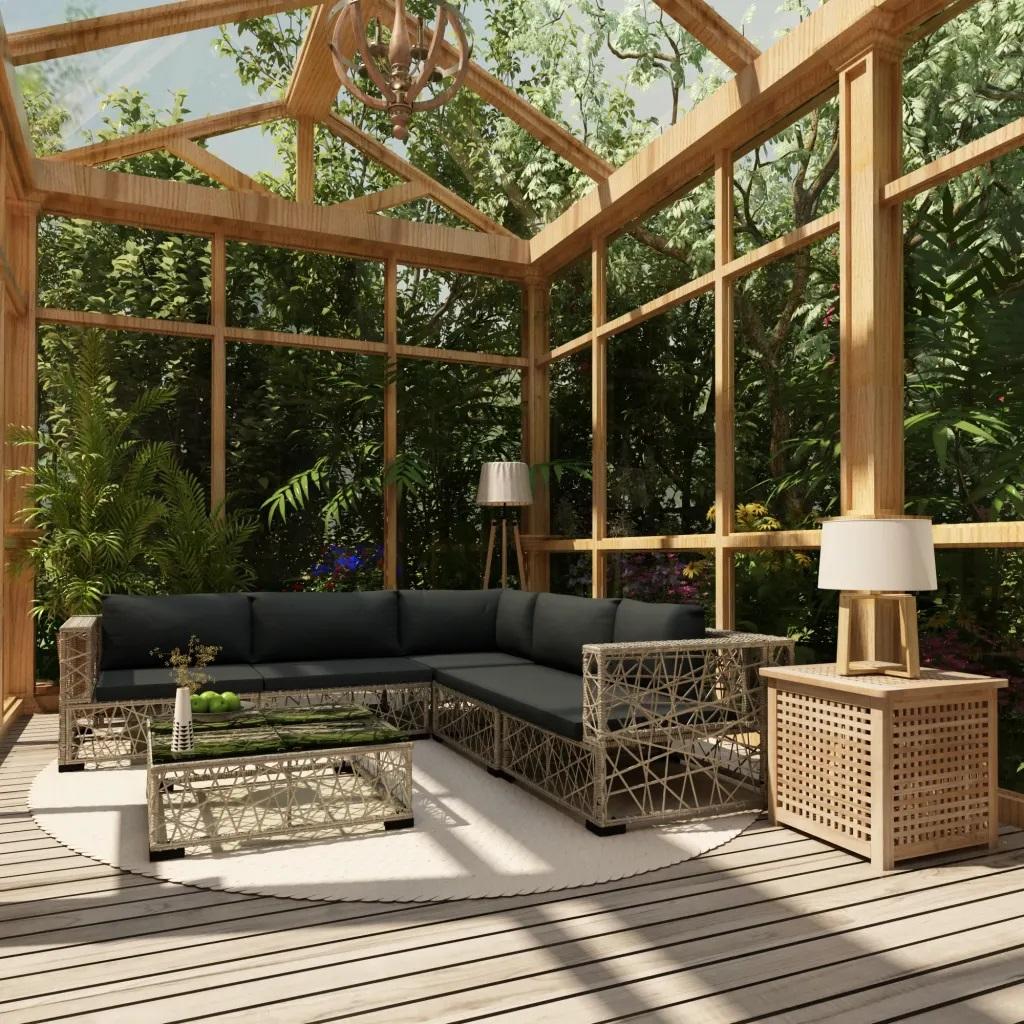 Salon de jardin contemporain 6 pièces avec coussins